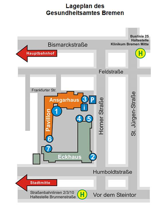 Gesundheitsamt Bremen - Lageplan
